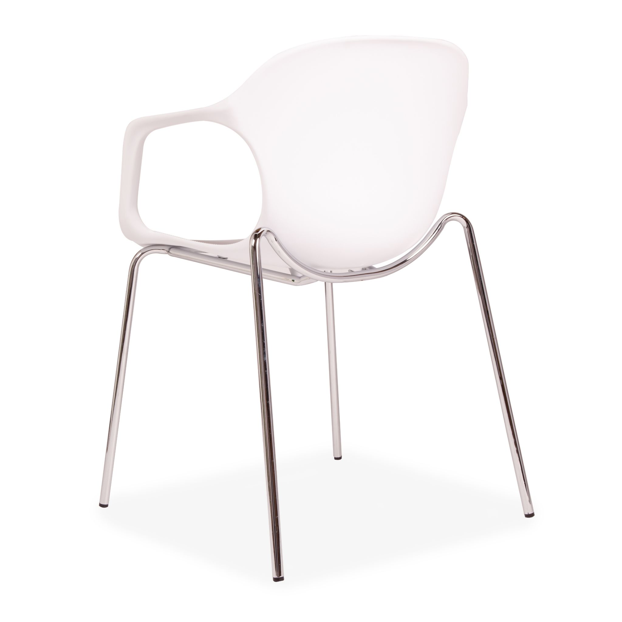 X2 Or X6 White Plastic Stackable Dining Chair With Metal Chrome Legs
